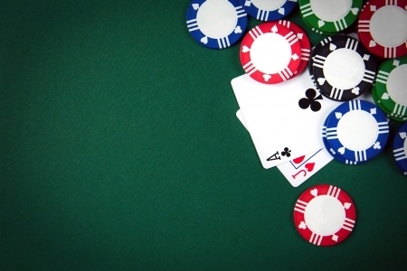 Blackjack playing cards and casino poker chips photo
