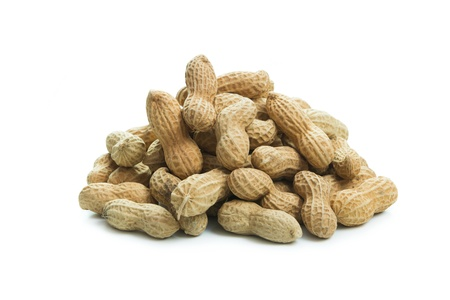 ground nuts: Pile of peanuts isolated on white background