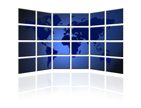 video wall: Video wall of flat tv screens with world map Stock Photo