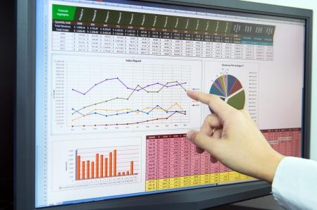 컴퓨터 화면에서 재무 데이터를 분석하는 사업가 스톡 콘텐츠