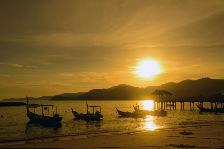 crepuscle: Sunset at the fisherman village in Penang Malaysia Stock Photo
