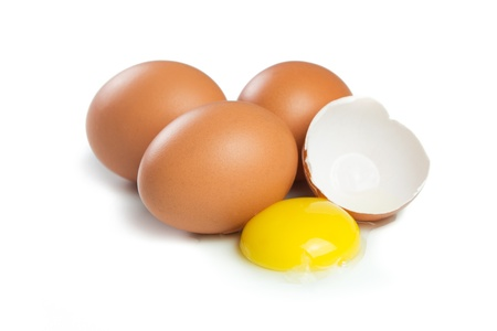 cholesterol free: Chicken brown eggs isolated on white background