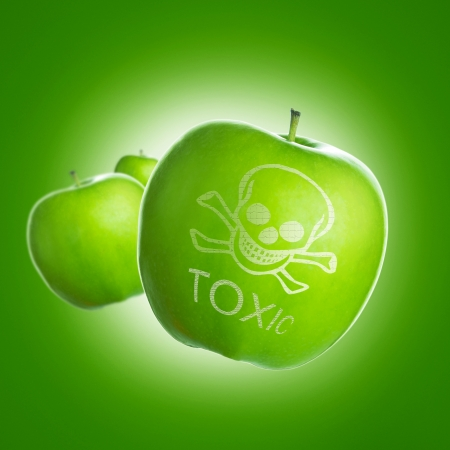 food poisoning: Food contamination concept using green apple with skull and image