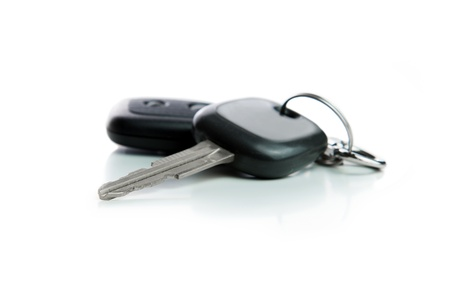 Car key with chain isolated on white background