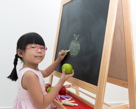 Little Asian girl draws green apple on black board photo