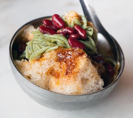Cendol dessert with gula Melaka syrup