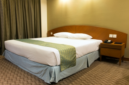 Interior of a double bed hotel bedroom