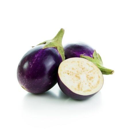 Close-up image of eggplant isolated on white background Imagens