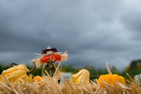 Halloween doll with pumpkins against dark cloudy sky photo