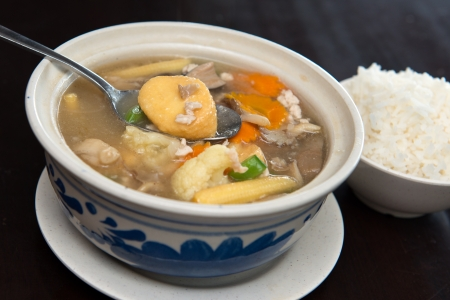 bean curd: Claypot bean curd with mixed vegetable served with rice