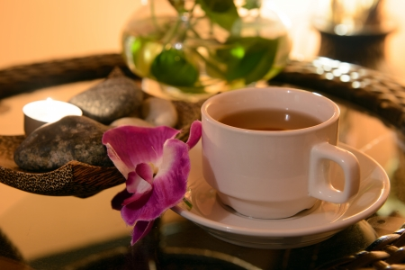 Herbal tea with spa elements as background Stock Photo