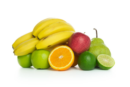mixed fruits: Group of mixed fruits isolated on white background