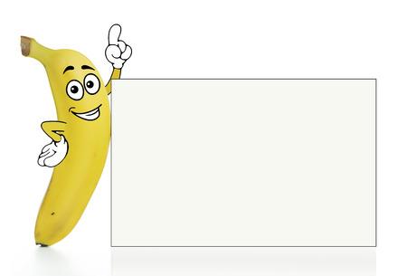 banaan cartoon: Banana stripfiguur met een effen witte bord