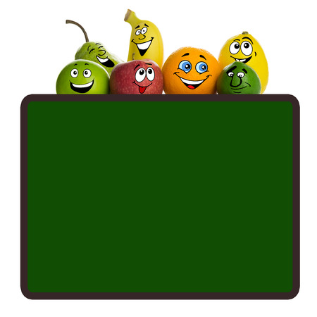 Fruit cartoon characters with blank green board