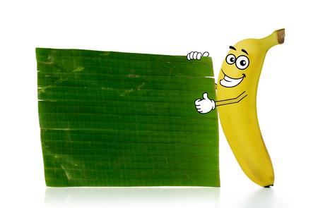 advertize: Banana cartoon character stands beside a plain banana leaf