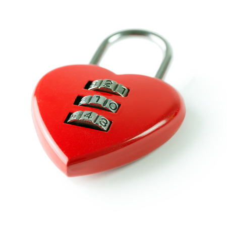 Red heart shape combination padlock with 214 security code