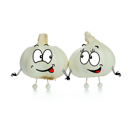 Two lovely garlic cartoon character on white background