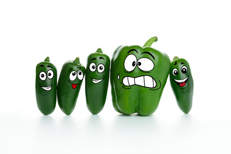 jalapeno: Fat green paprika and slim jalapeno cartoon characters