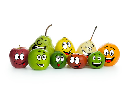 lime juice: Various fruit cartoon characters on white background Stock Photo