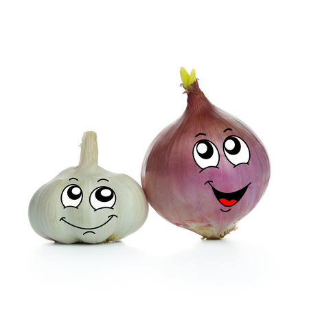 Onion and garlic cartoon character on white background photo
