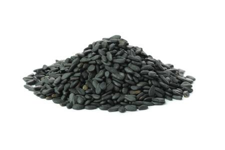 Heap of black sesame over white