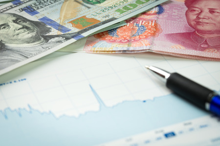 US dollar ten opzichte van China Yuan wisselkoers Stockfoto
