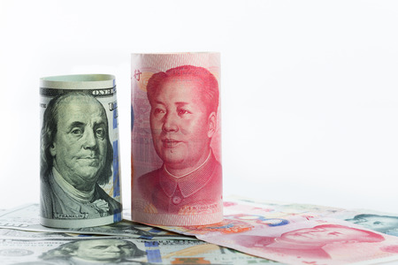 us currency: US one hundred dollar versus China Yuan currency