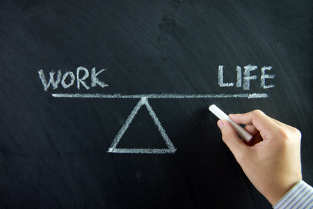 work life balance: Work and life balance written on chalkboard