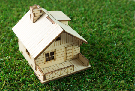 eco house: Little house model on the green grass
