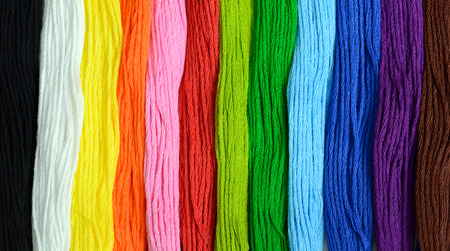 skein: Various color embroidery threads in full frame