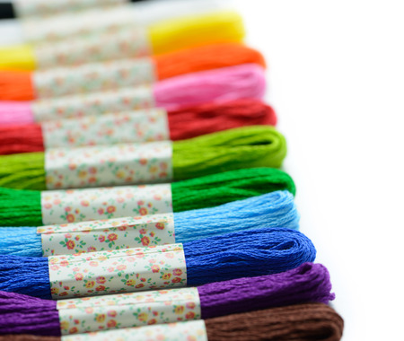 skein: Colorful embroidery thread isolated on white background