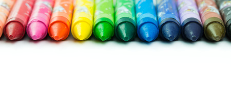 Spectrum of color crayon isolated on white background Stock Photo