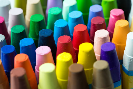 Close up image of stack of assorted crayon Stock Photo