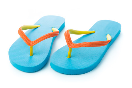 footgear: Pair of blue sandal isolated on white background
