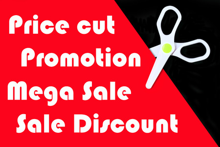 price cut: Price cut promotion banner with white scissor