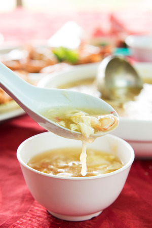 thicken: Spoon of egg flower soup, Chinese style soup