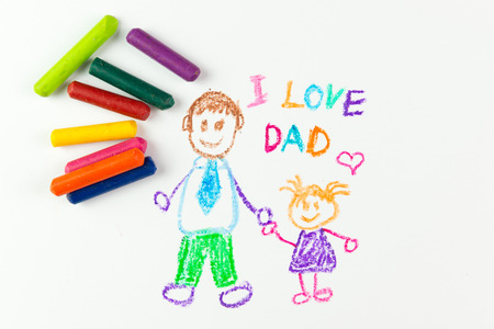 crayon drawing: Childs drawing of happy fathers day using crayon