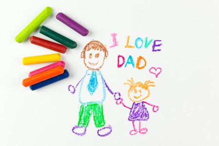 Kinderzeichnung des Tages mit Kreide glückliche vatertag