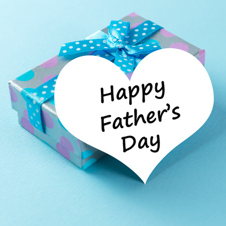 father: Gift box with happy father Stock Photo