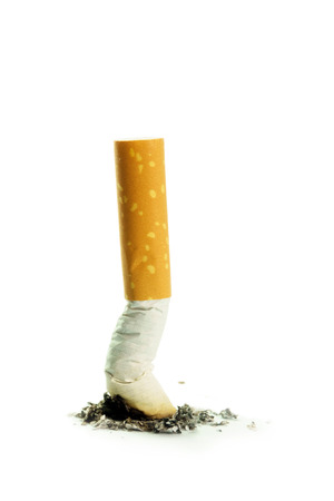 killing cancer: Single cigarette butt with ash isolated on white background