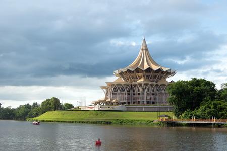 dun: SARAWAK - JUN 14: Riverfront view of Sarawak state assembly building in Kuching, Sarawak on Jun 3, 2014