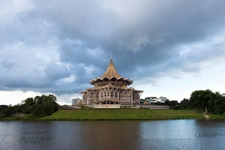 riverfront: SARAWAK - JUN 14: Riverfront view of Sarawak state assembly building in Kuching, Sarawak on Jun 3, 2014