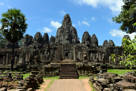Bayon temple inside Angkor Wat Complex in Siem Reap, Cambodia