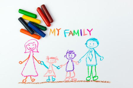 child's drawing: Childs drawing of my happy family using crayon