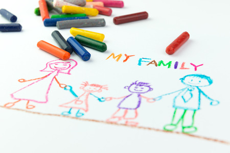 family picture: Childs drawing of my happy family using crayon