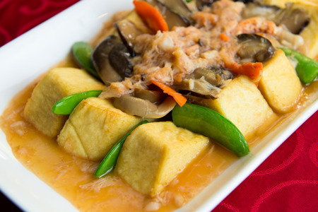 crabmeat: Chinese style cooking of braised beancurd with crabmeat Stock Photo