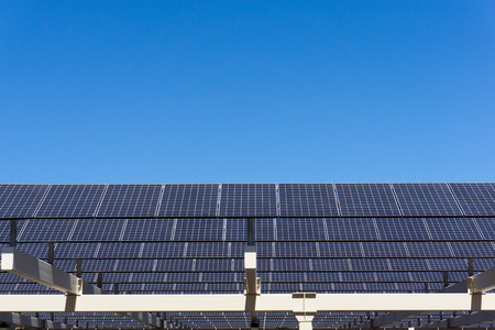 solarpanel: Shot of solar panel against clear blue sky Stock Photo