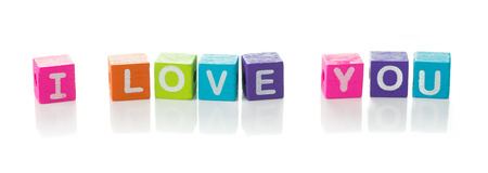 I love you message illustrated with colourful cubes photo