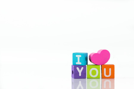 3d illustration of I love you with colorful cubes illustration