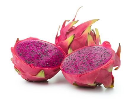 Dragon fruit cut in half on white background